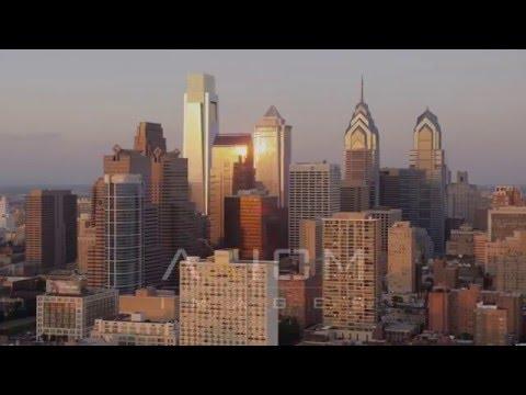 Philadelphia skyline, Pennsylvania Sunset Aerial Stock Footage | AX80 126 4K youtube
