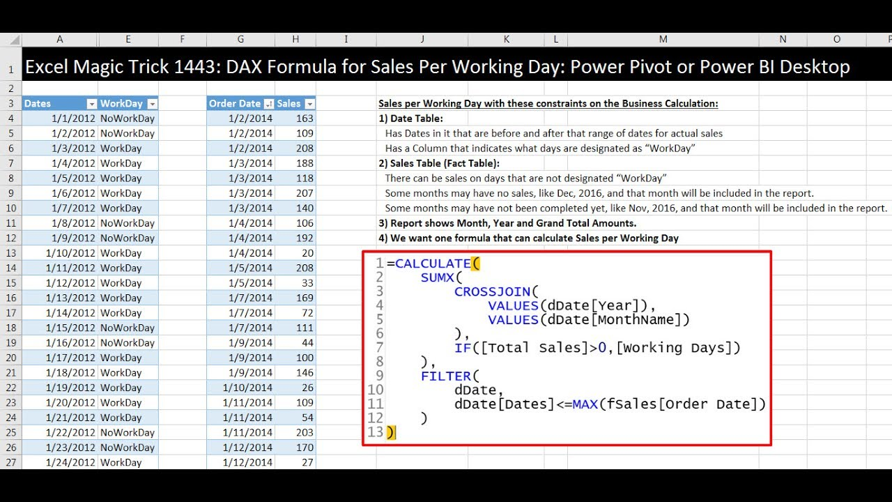 Excel Magic Trick 1443: DAX Formula for Sales Per Working Day: Power Pivot  or Power BI Desktop