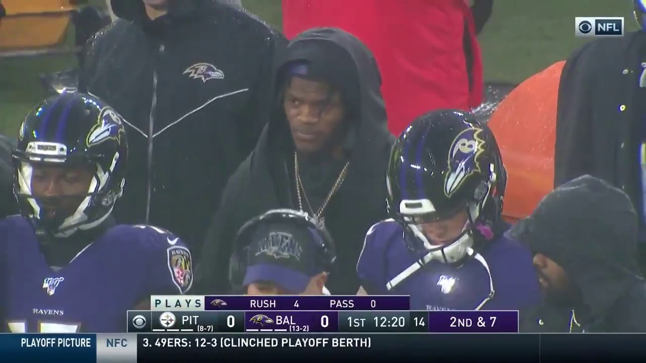 Lamar Jackson Rocking The Gold Chain On The Sideline Youtube