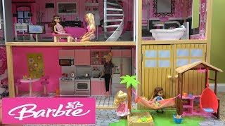 Princess Cinderella and Belle Visit Barbie and Ken Story with Barbie's Closet and Chelsea Tiki Hut