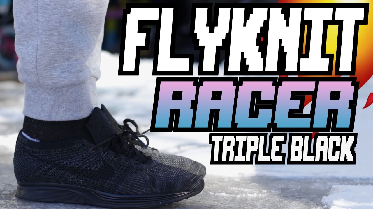 36263a961adf ... 50% off nike flyknit racer triple black review w on foot youtube e0dd1  f436e