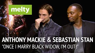 """Anthony mackie & sebastian stan interview: """"once i marry black widow, i'm out!"""""""