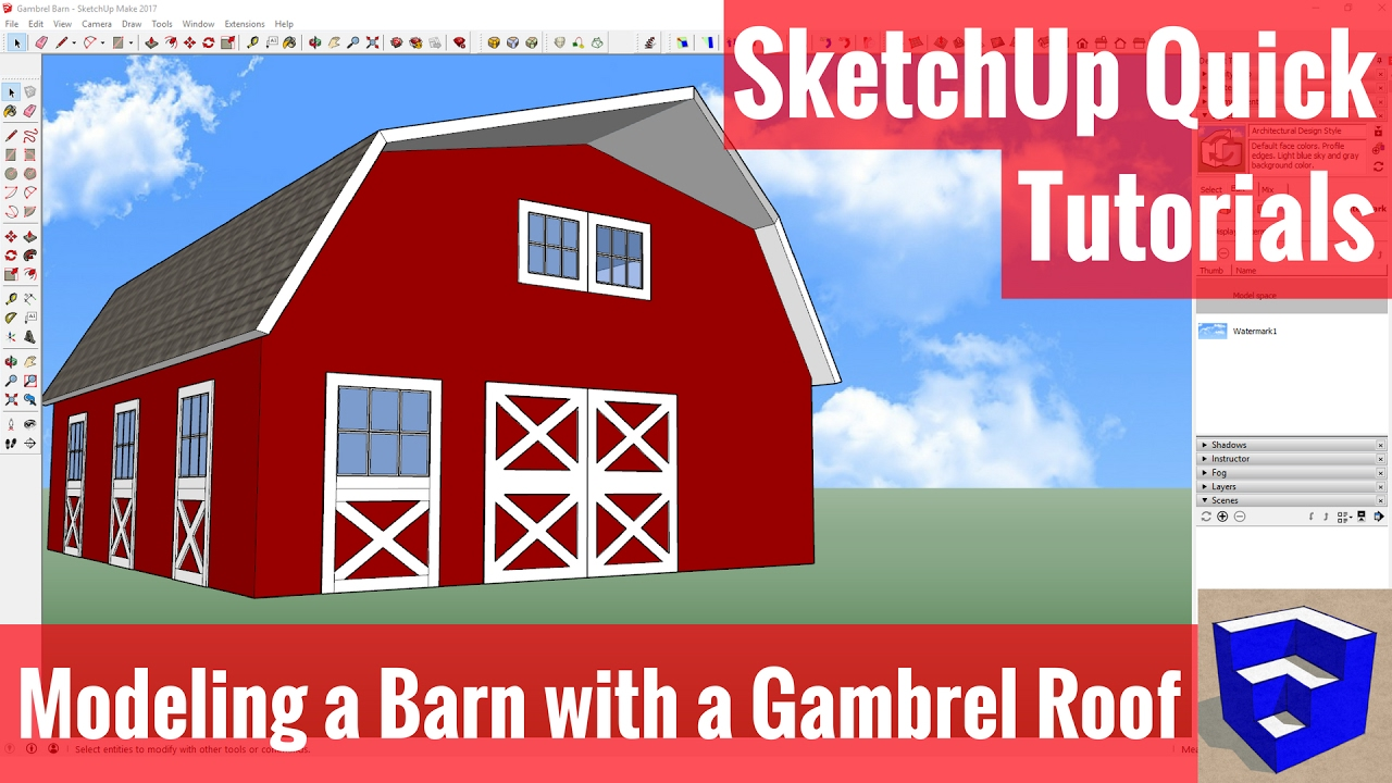 How to draw a gambrel roof in sketchup - Modeling A Barn With A Gambrel Roof In Sketchup Sketchup Quick Tutorials