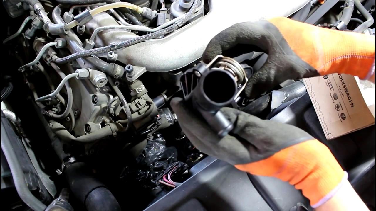 Замена термостата двигателя CASA на АУДИ Q7 2008 AUDI Q7 3 ...