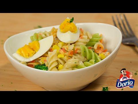 Ensalada de Tornillos Verduras Doria con huevo, maíz y brócoli