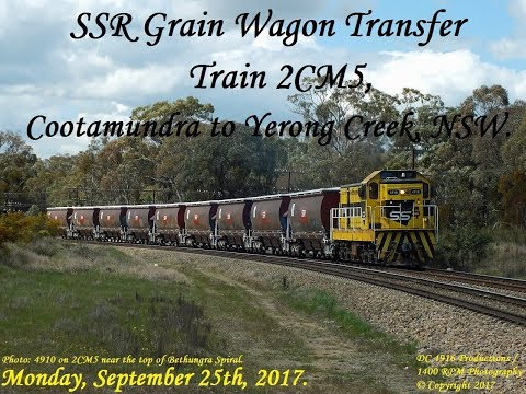 SSR grain wagon transfer 2CM5, Cootamundra to Yerong Creek with 4910. Monday 25/9/2017