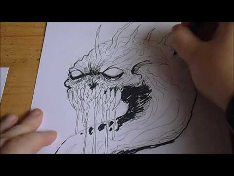 Demon Serpent Sketch Ink Splatter Inktober Day #7