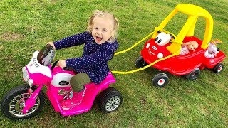 Little Girl Elis Ride On Pink Harley with Cozy Coupe Little Tikes /w Thomas Toys Excavator Bulldozer