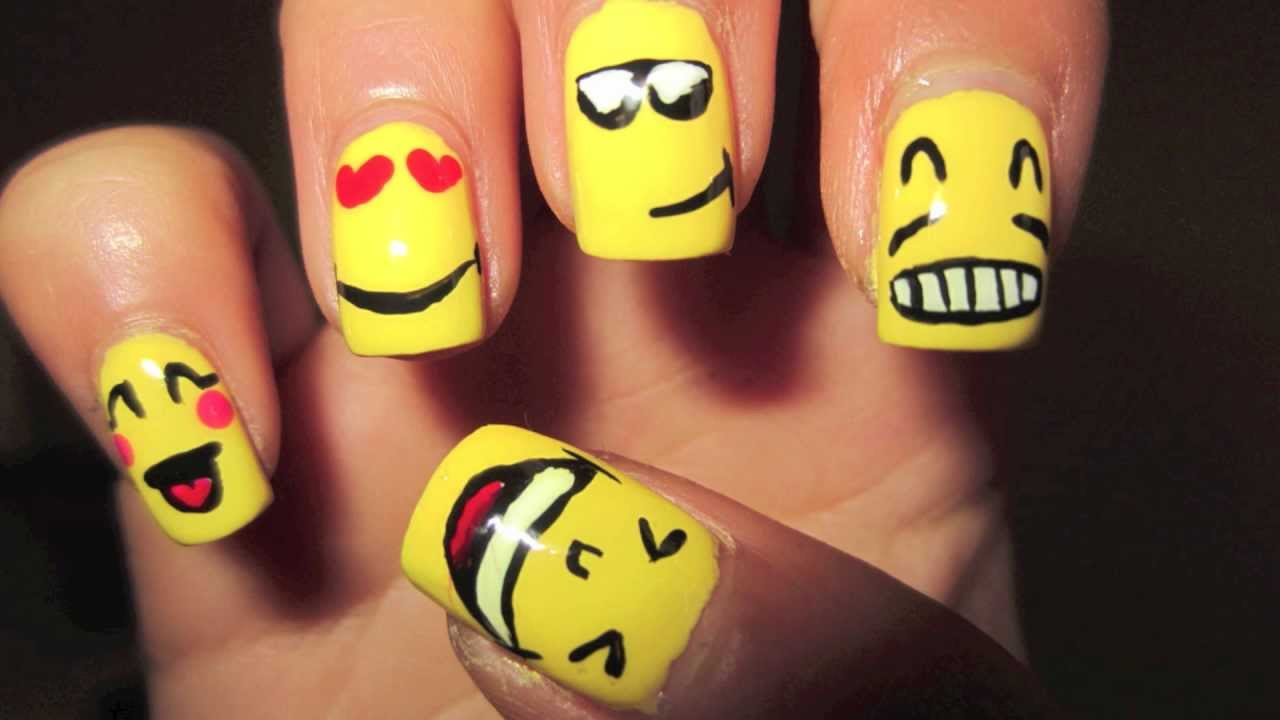 Smiley Faces Nails - YouTube