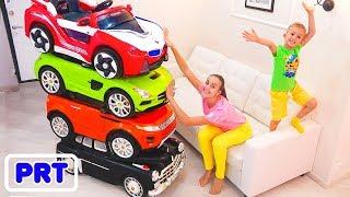 Passeio de motorista pouco mágica em carros de brinquedo e carro de transformação para crianças