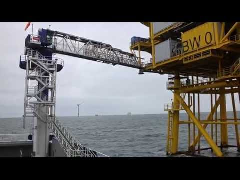 Uptime 23,4m AMC gangway accessing the Trianel Borkum West wind turbines and substation