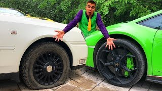 Mr. Joe punched Wheel on Nissan Cedric & ripped Tire of Lamborghini Huracan without Wheels 13+