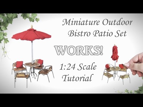 Miniature Outdoor Bistro Patio Set Tutorial (actually works!) | Dollhouse | How to 1:24 Scale DIY