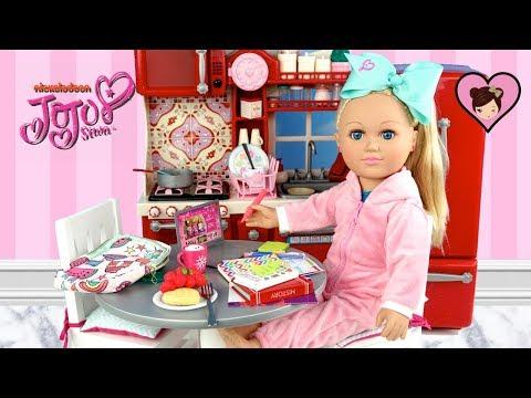 Jojo Siwa Doll Homeschool Morning Routine Dollhouse Kitchen