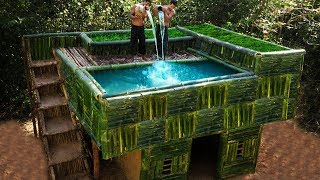 Building The Most Swimming Pool On Roof Beautiful Bamboo Villa