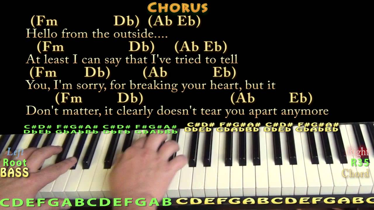 Hello (Adele) Piano Lesson Chord Chart - YouTube