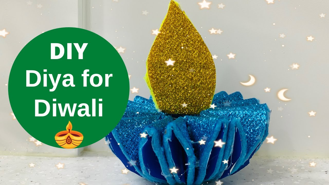 Diy Glitter Paper Diya For Diwali Diwali Decoration Ideas At Home Diya Decoration Ideas Youtube