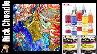 SHOVEL POUR: LUKAS Cryl Liquid Acrylic Paints, Floetrol, B'laster on Easy Flow Paint Pouring Panel