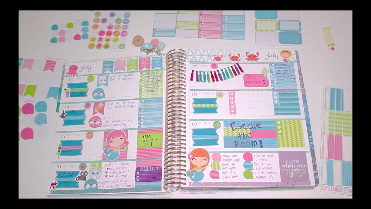 Plan with me erin condren horizontal mermaid theme for Plan me