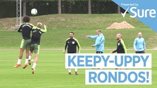 THREE TOUCH RONDOS | Huddersfield vs Man City Training