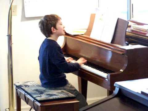 Baseball Game on Piano: Samuel playing Piano