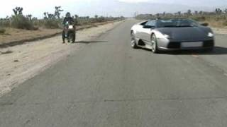 Corvette goes against a Lamborghini Murcielago and a Hayabusa.