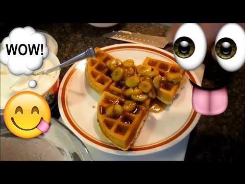 simple-food-cooking-breakfast-part-1.-easy-banana-foster-waffles