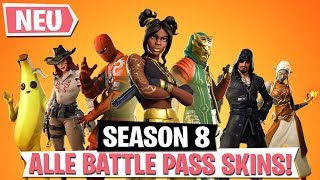 *SEASON 8* ALL NEW SKINS IN BATTLE PASS! | Fortnite Battle Royale