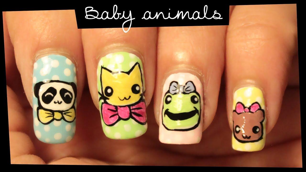 Baby Animals nail art - YouTube