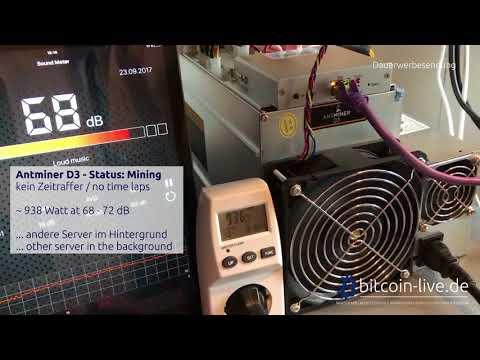 Bitmain Antminer D3 - Submodel 17.0 G - Lautstärke (loudness) & Stromverbrauch (power consumption)