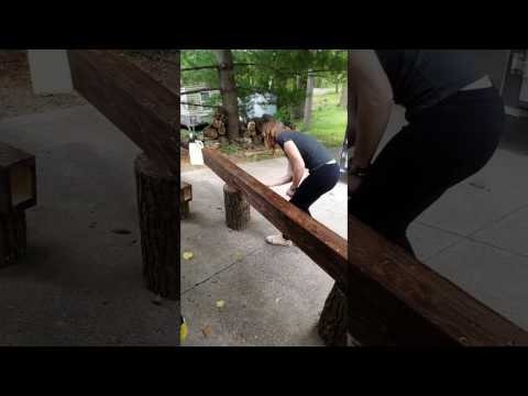 Staining a Wood Beam