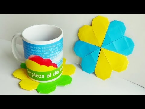 Heart Paper Coasters - Origami Modular/ 하트 페이퍼 컵 받침 - 종이 접기 모듈 식