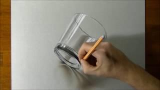 Desenhando Um Copo De Vidro 3D (Realista) - Tu Desenhos