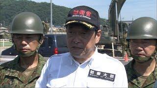 小野寺防衛大臣が被災地を視察「災害ごみの撤去を加速」 岡山・倉敷市