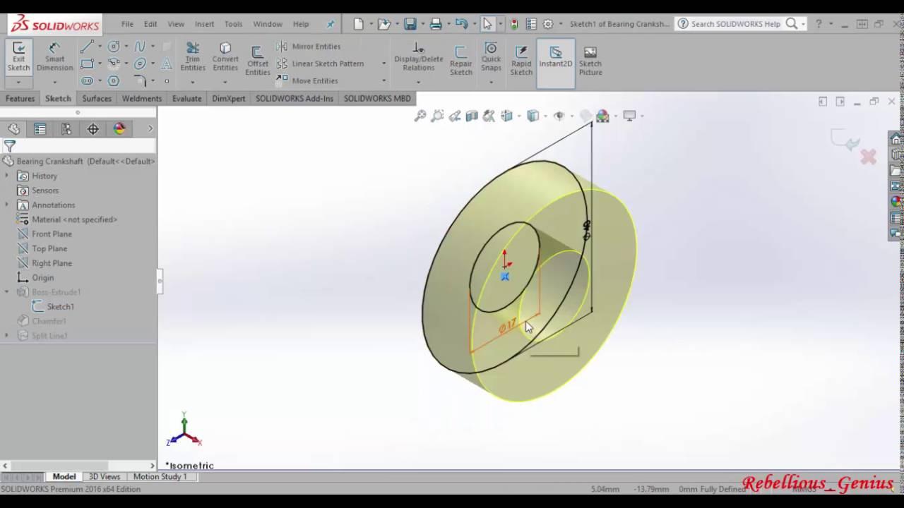 Radial Engine Front Diagram Schematic Diagrams V16 13 Solidworks Bearing Crankshaft Youtube