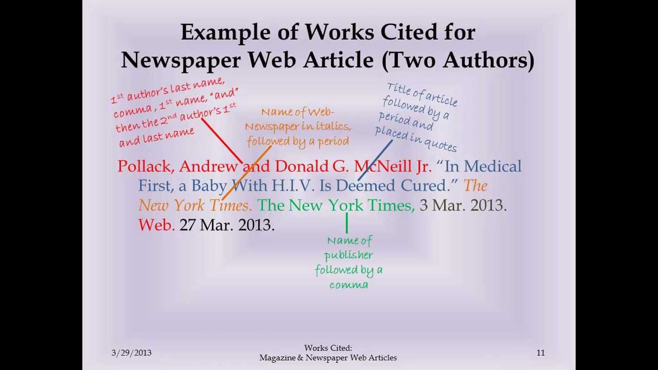 Mla Works Cited Magazine And Newspaper Web Articles Youtube