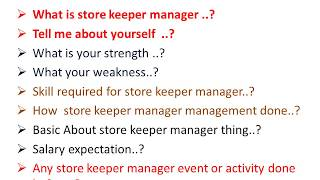 store keeper manager: store keeper interview question and answer for fresher
