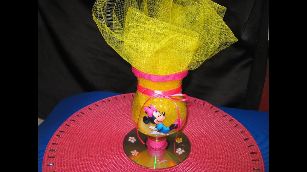 Centro de mesa minnie mouse con botellas pl sticas youtube - Centros de mesa con botellas ...