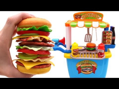 Learn Fruits & Vegetables with Giant Toy Cheeseburger & Toy Hamburger Stand