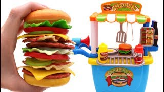 Repeat youtube video Learn Fruits & Vegetables with Giant Toy Cheeseburger & Toy Hamburger Stand