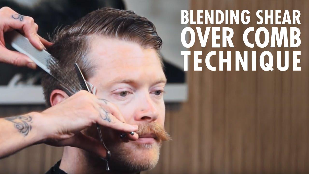 Men U0026 39 S Haircut Technique  Blending Shear Over Comb