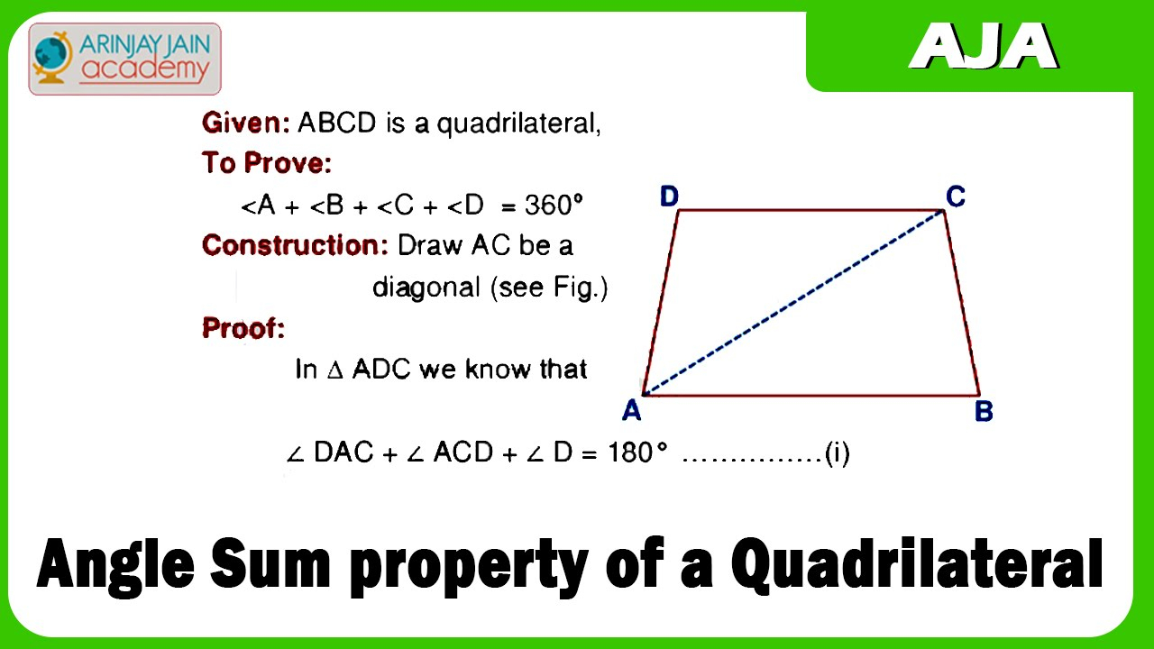 Angle sum property of a quadrilateral youtube What do exterior angles of a triangle add up to