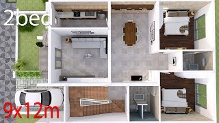 Interior Home Design Plan 9x12m with 2 Bedrooms