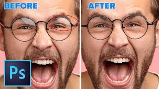 How to REMOVE reflections from glasses in PHOTOSHOP | NOT what you expect.