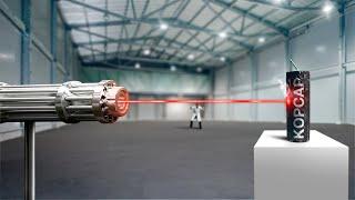 Прожжёт ли сверхмощный лазер петарду насквозь?