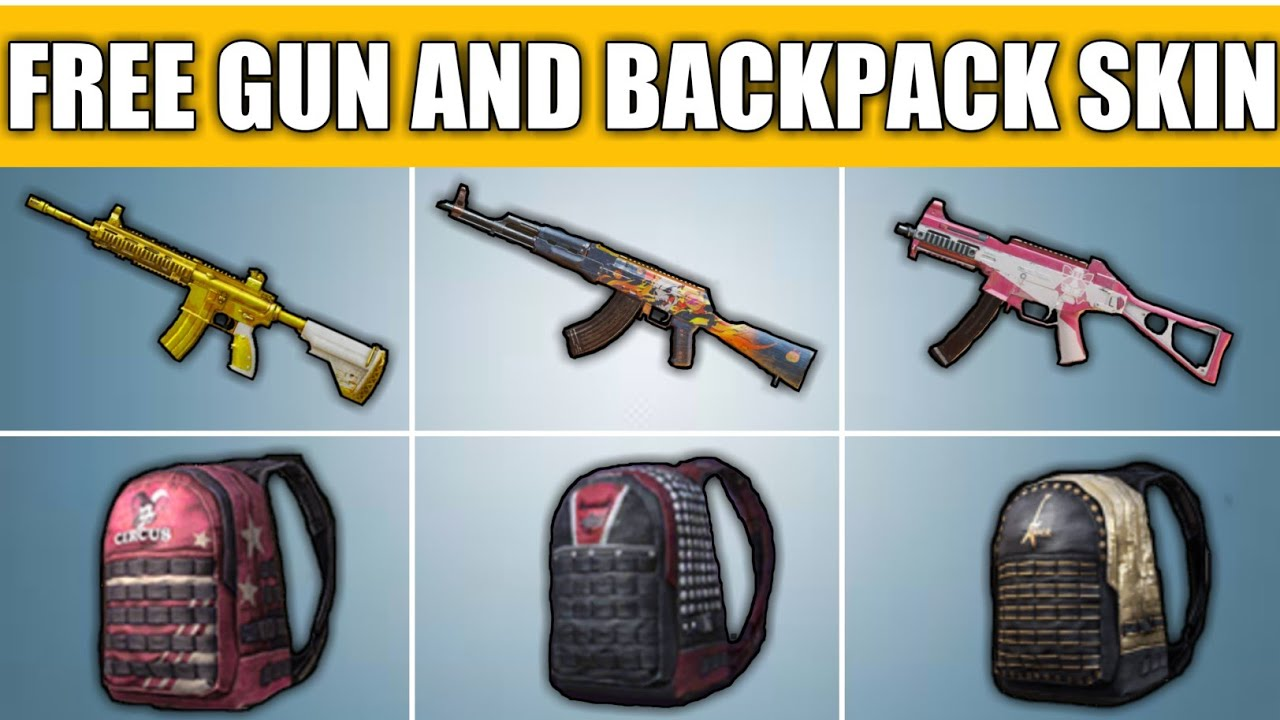 How To Get Free Gun Skins And Backpack Skins In Pubg Mobile ! Get Free  Backpack And Gun Skin