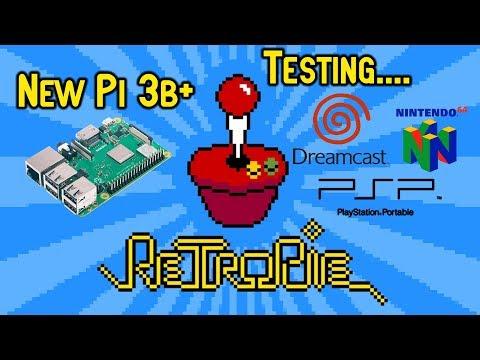 NEW Raspberry Pi 3B+ Plus RetroPie Testing Dreamcast N64 & PSP