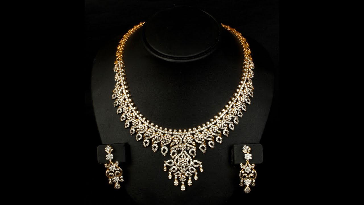 Indian Gold Jewellery Necklace Designs With Price: Latest 13 Diamond Necklace Jewellery Designs