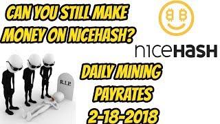 Mining on Nicehash is profitable? 2-18-2018