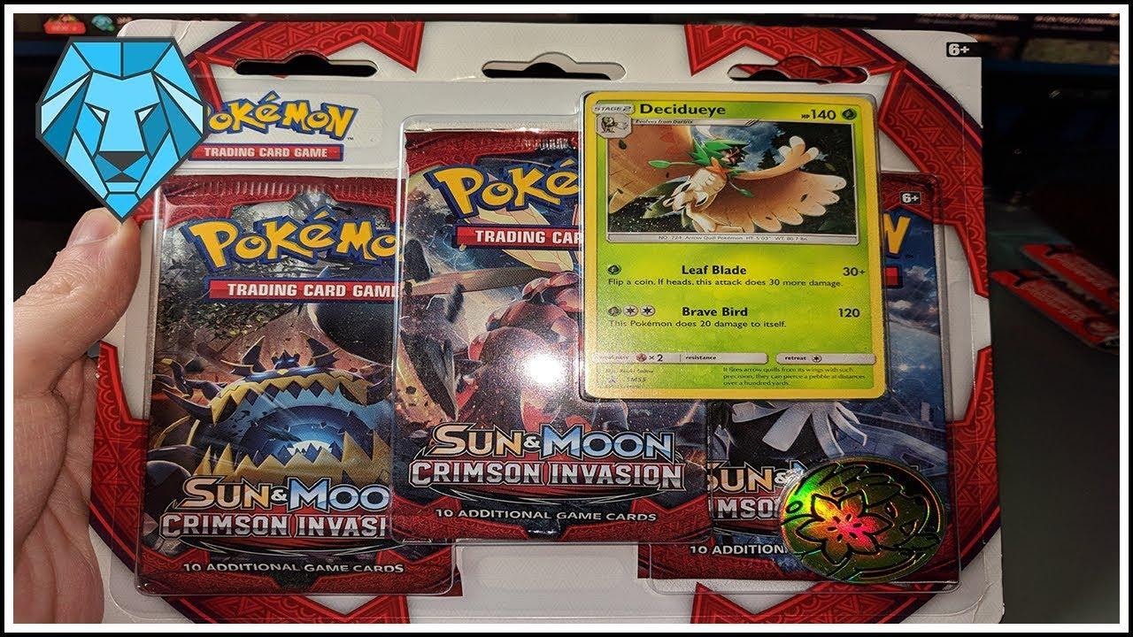 POKEMON SUN AND MOON CRIMSON INVASION THREE-BOOSTER BLISTER SET OF 2 6 PACKS